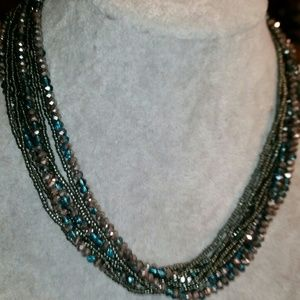 Premier Designs Turquoise & Silver Crystal Layered